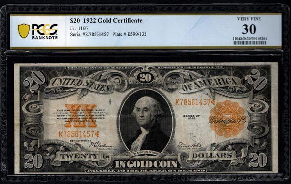 1922 $20 Gold Certificate PCGS 30 Fr.1187 Item #39145384