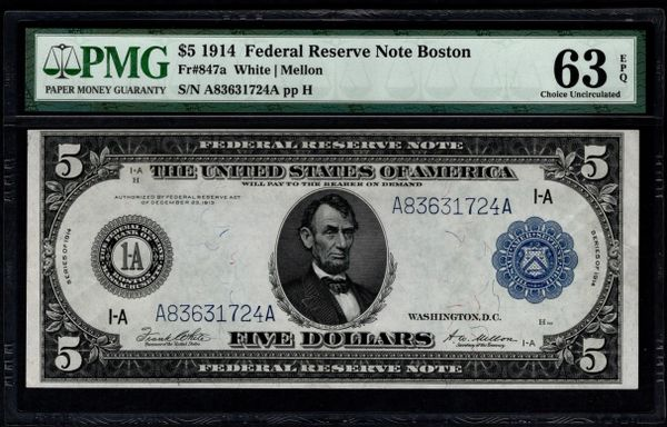 1914 $5 Boston FRN PMG 63 EPQ Fr.847a Item #8066860-013