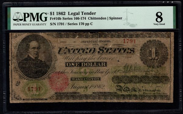 1862 $1 Legal Tender PMG 8 Fr.16b Item #8071865-002