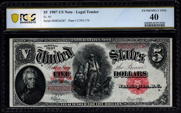 1907 $5 Legal Tender Woodchopper Note PCGS 40 Fr.91 Item #39145381