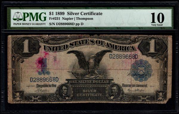 1899 $1 Silver Certificate Black Eagle Note PMG 10 Fr.231 Series Key Note Item #5014092-004