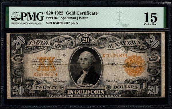 1922 $20 Gold Certificate PMG 15 Fr.1187 Item #5014816-019