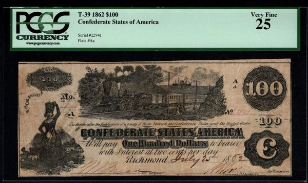 1862 $100 T-39 Confederate Currency PCGS 25 Civil War Note Item #80522910