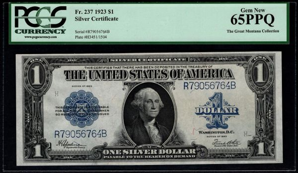 1923 $1 Silver Certificate PCGS 65 PPQ Fr.237 Item #80331894