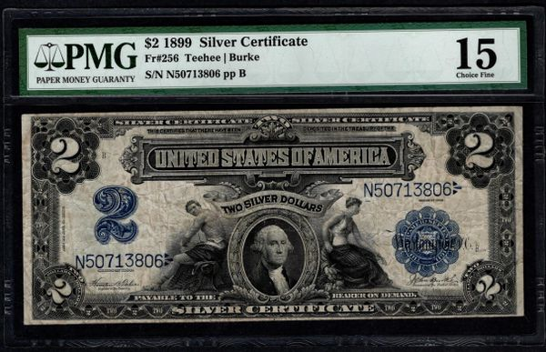 1899 $2 Silver Certificate Mini-Porthole Note PMG 15 Fr.256 Item #8064034-002
