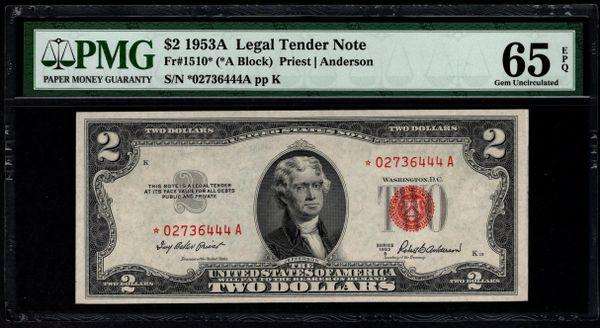 1953A $2 STAR Legal Tender PMG 65 EPQ Fr.1510* Item #5014651-030