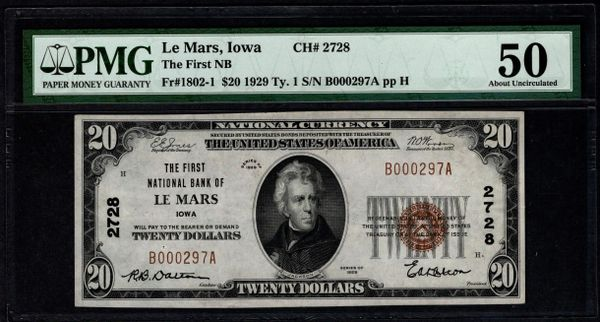 1929 $20 The First National Bank of Le Mars Iowa PMG 50 Fr.1802-1 Charter CH#2728 Item #8068107-014
