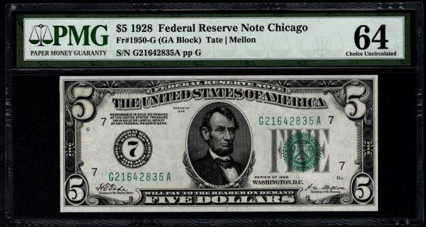 1928 $5 Chicago FRN PMG 64 Fr.1950-G Numerical 7 District Item #5014649-071