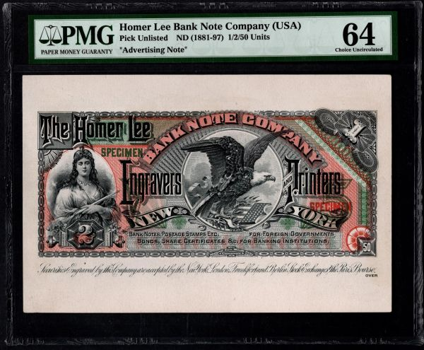 1800's The Homer Lee Bank Note Company Advertising Card PMG 64 Item #1854258-006