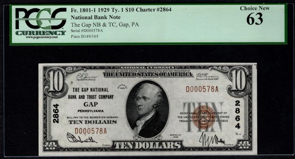1929 $10 The Gap National Bank and Trust Co. Pennsylvania PCGS 63 Fr.1801-1 Charter CH#2864 Item #80785363