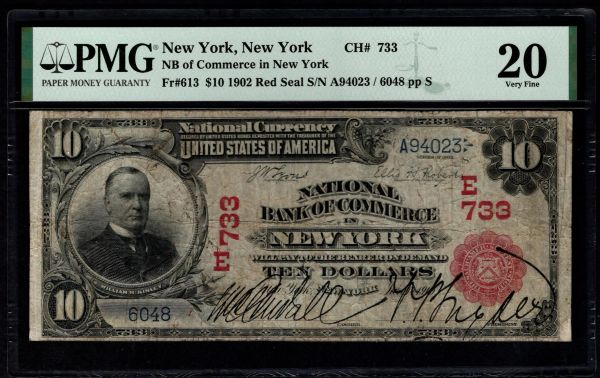 1902 $10 National Bank of Commerce New York Red Seal PMG 20 Fr.613 Charter CH#733 Item #1887876-040