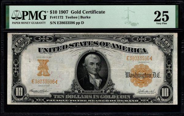 1907 $10 Gold Certificate PMG 25 Fr.1172 Item #2511046-004