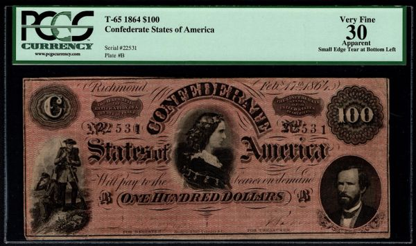 1864 $100 T-65 Confederate Currency PCGS 30 APPARENT Lucy Pickens Civil War Note Item #80419285