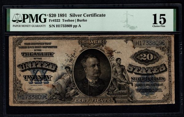 1891 $20 Silver Certificate Manning Note PMG 15 Fr.322 Item #5005010-008
