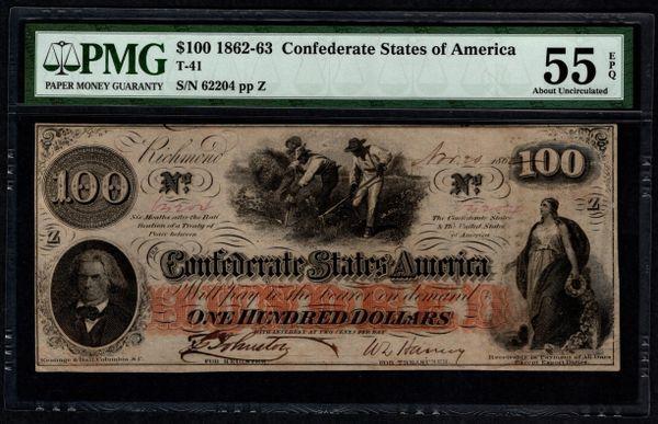 1862 $100 T-41 Confederate Currency PMG 55 PPQ Civil War Note Item #5014333-005