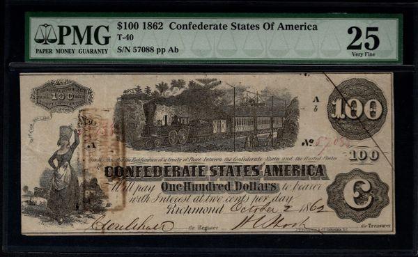 1862 $100 T-40 Confederate Currency PMG 25 Civil War Note Item #1738968-014