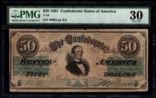 1861 $50 T-16 Confederate Currency PMG 30 Civil War Note Item #5014581-034