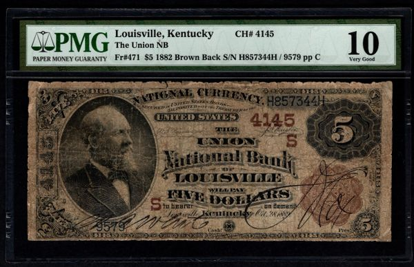 1882 $5 The Union National Bank of Louisville Kentucky PMG 10 Fr.471 Charter CH#4145 Item #5014125-001