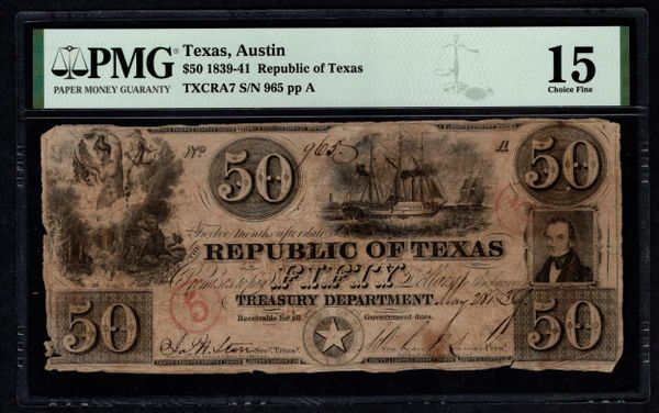 1839-1841 $50 Austin Republic of Texas PMG 15 Item #5014738-010