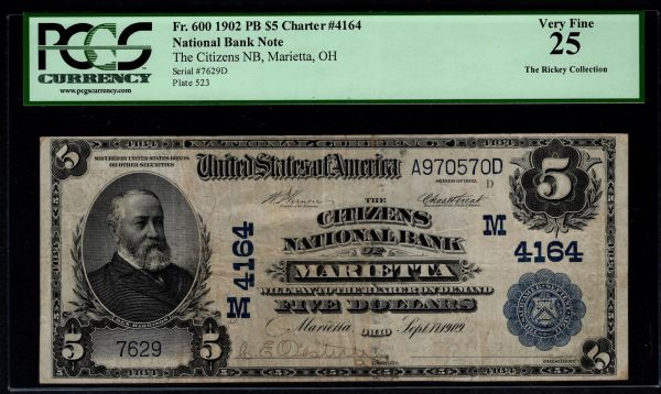 1902 $5 The Citizens National Bank of Marietta Ohio PCGS 25 Fr.600 Charter CH#4164 Item #80614515