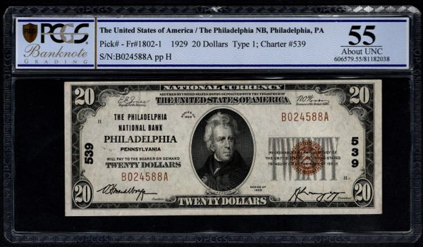 1929 $20 The Philadelphia National Bank Pennsylvania PCGS 55 Fr.1802-1 Charter CH#539 Item #81182038