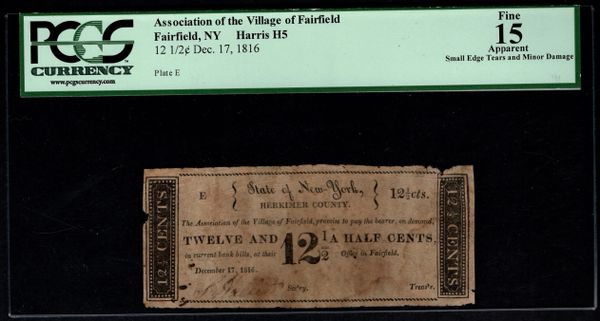 1816 12-1/2c Association of the Village of Fairfield New York PCGS 15 Item #80617699