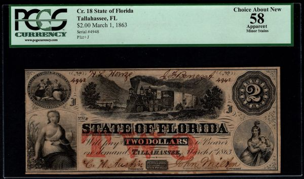 1863 $2 Tallahassee State of Florida PCGS 58 APPARENT Item #59047996