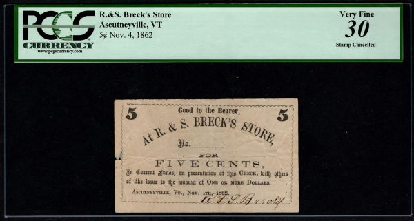 1862 5c R. & S. Breck's Store Ascutneyville Vermont PCGS 30 Item #59112068