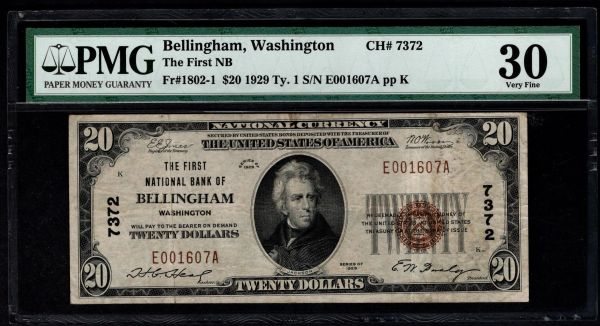 1929 $20 The First National Bank of Bellingham Washington PMG 30 Fr.1802-1 Charter CH#7372 Item #1855788-033