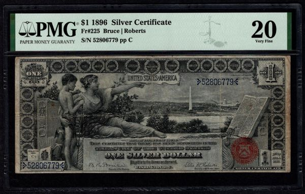 1896 $1 Silver Certificate Educational Note PMG 20 Fr.225 Item #8075286-001
