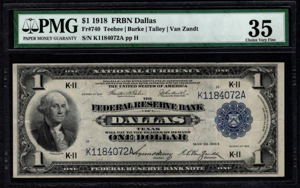 1918 $1 Dallas FRBN PMG 35 Fr.740 Item #1721849-018