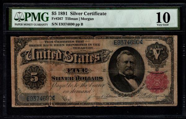 1891 $5 Silver Certificate Grant Note PMG 10 Fr.267 Item #2510279-017