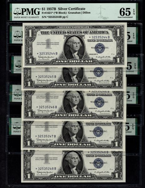 Lot of 22 Consecutive 1957B $1 STAR Silver Certificates PMG 65 EPQ Fr.1621* Item #8072899-025/046