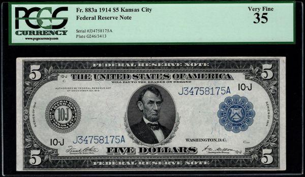 1914 $5 Kansas City FRN PCGS 35 Fr.883a Item #80640060