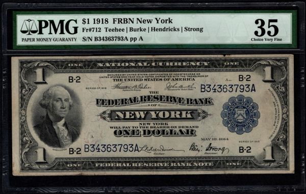1918 $1 New York FRBN PMG 35 Fr.712 Item #5012961-007
