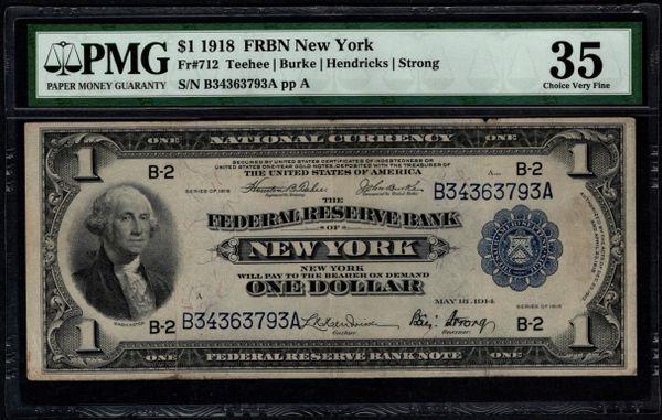 1918 $1 New York FRBN PMG 35 Fr.712 Item #5012961-007