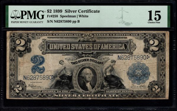 1899 $2 Silver Certificate Mini-Porthole Note PMG 15 Fr.258 Item #8075286-009