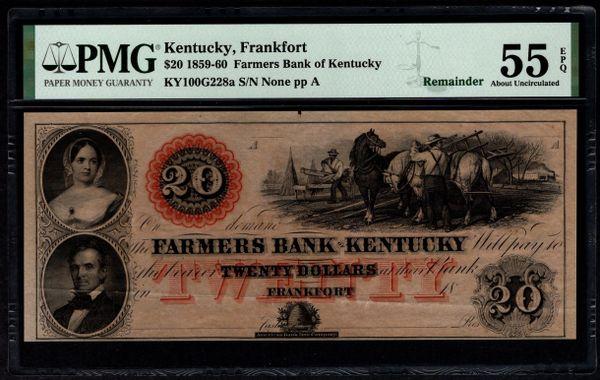 1859-1860 $20 Farmers Bank of Frankfort Kentucky PMG 55 EPQ Item #1853346-047