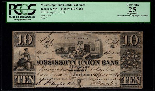 1839 $10 Mississippi Union Bank Jackson MS PCGS 25 APPARENT Item #80593303