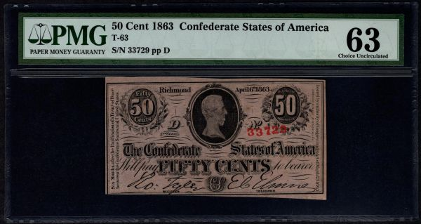1863 50c T-63 Confederate Currency PMG 63 Jefferson Davis Civil War Note Item #1534705-011