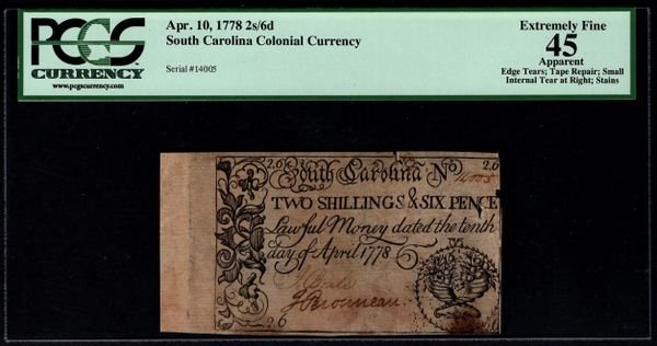 1778 South Carolina Colonial Currency PCGS 45 APPARENT Two Shillings & Six Pence 2s/6d Item #80439040