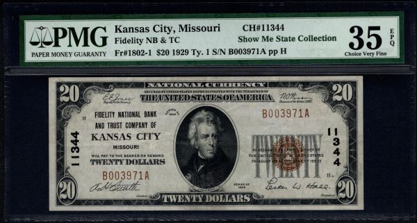 1929 $20 Fidelity NB & TC of Kansas City Missouri PMG 35 EPQ Fr.1802-1 Charter CH#11344 Item #8007220-007
