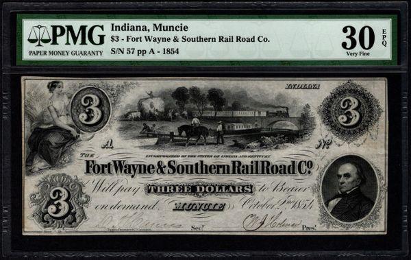 1854 $3 Fort Wayne & Southern Rail Road Co. Muncie Indiana PMG 30 EPQ Item #8060413-005