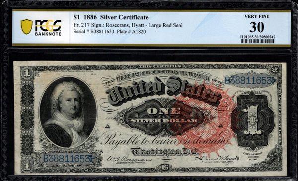 1886 $1 Silver Certificate Martha Note PCGS 30 Fr,217 Item #39800242