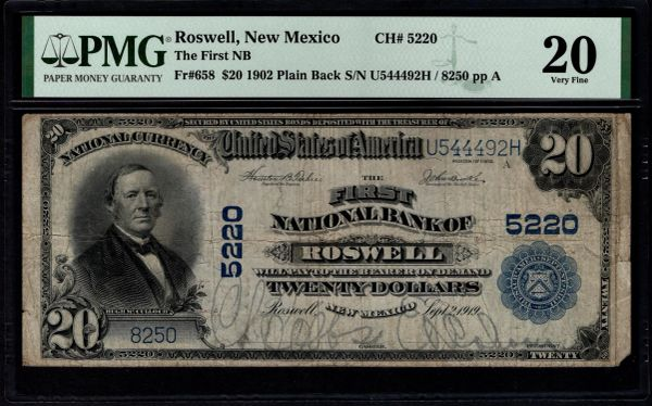 1902 $20 The First National Bank of Roswell New Mexico PMG 20 Fr.658 Charter CH#5220 Item #1991204-004