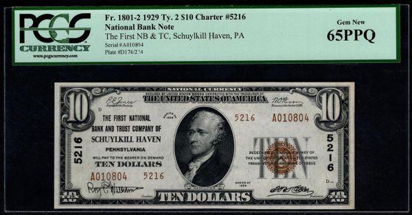 1929 $10 The First NB & TC of Schuylkill Haven Pennsylvania PCGS 65 PPQ Fr.1801-2 Charter CH#5216 Item #80324120