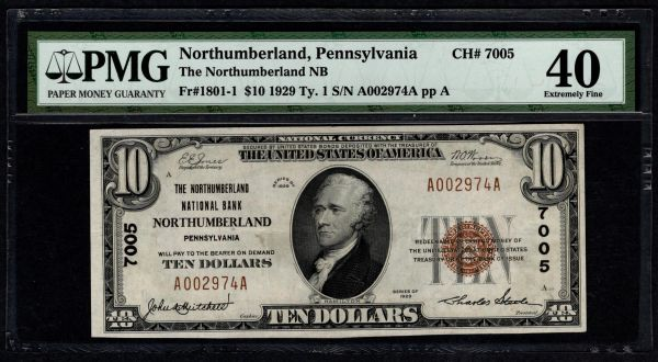 1929 $10 The Northumberland National Bank of Pennsylvania PMG 40 Fr.1801-1 Charter CH#7005 Item #1819074-023