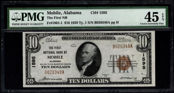 1929 $10 The First National Bank of Mobile Alabama PMG 45 EPQ Fr.1801-1 Charter CH#1595 Item #8049601-003