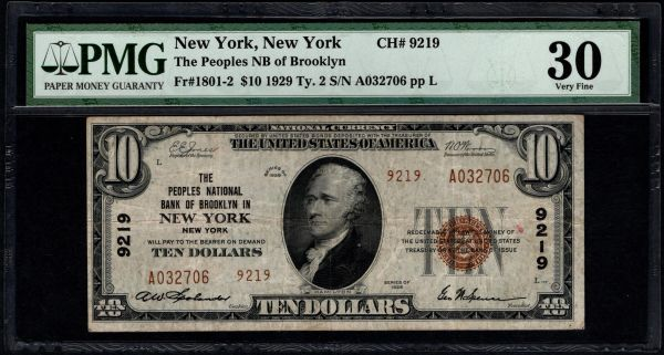 1929 $10 The Peoples National Bank of Brooklyn In New York PMG 30 Fr.1801-2 Charter CH#9219 Item #8044844-003