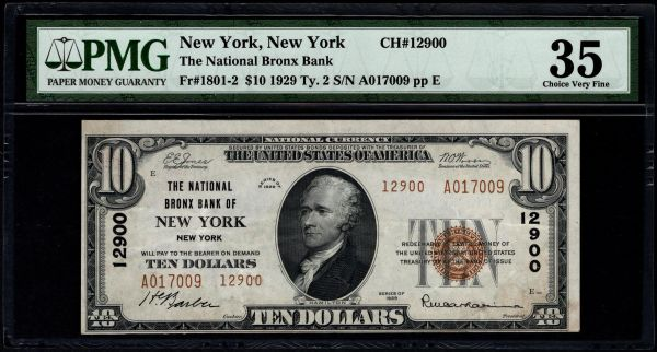 1929 $10 The National Bronx Bank of New York PMG 35 Fr.1801-2 Charter CH#12900 Item #5013815-004